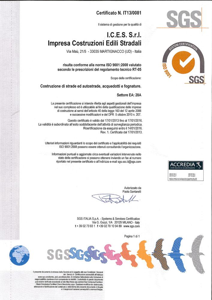 certificato qualita ices